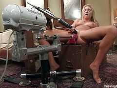 Jaelyn Fox is a sexy blonde with a shaved pussy that's gonna be left totally soaking wet after she gets fucked by machines.