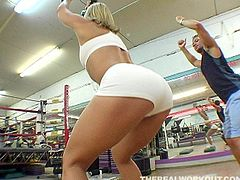 Provocative sporty blonde is flirting with her fitness instructor. She suspects that he has special size for her. Go for the hot sport sex tube video produced by Team Skeet porn site.