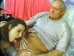 Old fucker is on the sofa while his stiff cock is used by that horny pregnant hoe, she is is always horny when she is naked and alone with guy.