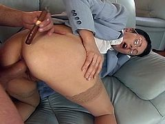 Sexy short hairs brunette milf gets her butthole fingered hard before she sits on her keens and sucks that big cock.After some oral fun this rich dude fucks her both hole deep and hard and cums in her mouth.