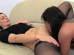 Lovely girl and hot MILF in stockings lick each others pussies. After that this girl gets fucked from behind by a guy.