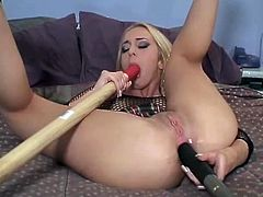 Crazy blonde chick gets her ass and pussy toyed at the same time. Later on she also gets fucked rough in the ass.
