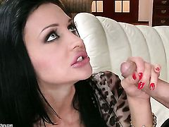 Aletta Ocean with huge boobs gets throat slammed by guys stiff meat pole