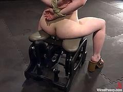 Stardust is having fun with her dominant GF in a basement. She gets bound and tormented and then gets her coochie drilled hard by a fucking machine.