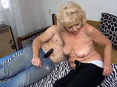 Watch this jerk getting pleased by some old granny all naked and with large swinging titties in his bedroom in Old Nanny sex clips.