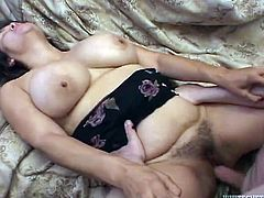 Fat chick fondles her big boobs and gets her bushy pussy licked. After that she also gets fucked and creampied in a missionary pose.