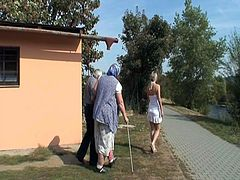 Incredible hot outdoor wicked game where nasty blonde chick gets screwed by a perverted grandad as granny is  watching and touching her old cunt and big boobs.