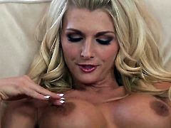 With juicy knockers and hairless twat satisfies her sexual needs and desires alone in solo scene