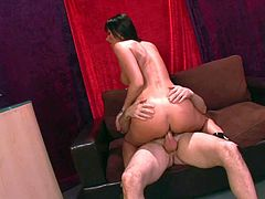 Lusty heavy chested milf Eva Karera with huge round ass and long black hair in high heels only gets horny and rides on handsome Mark Zane like there is no tomorrow.