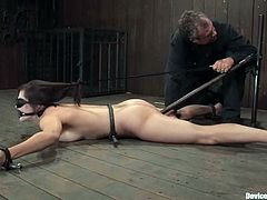 Bobbi Starr gets beaten and banged by a fucking machine in BDSM vid