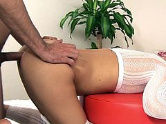 Alluring doll Ally loves to play dirty and piss when having her pussy slamed
