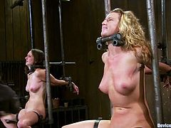 Christina Carter and Winter Sky get bonded and choked. They also kiss in a cage and get fucked with a fucking machine.