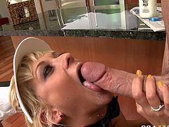 Naughty blonde bitch with big boobs and ass is fucking hard in steamy Brazzers Network porn clip. She sucks meaty cock deepthroat before getting nailed hard mish style on top of the kitchen counter.