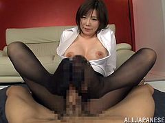 Sizzling Japanese girl Nanako Mori allows her man to cut her pantyhose and play with her pussy through the hole. Then she pleases the dude with a great footjob and enjoys a hot facial cumshot.