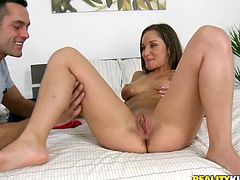 Luscious brunette girl has got her natural tits oiled up. Handsome man eats her pussy dry. He then penetrates her coochie from behind. Later on sexy brunette girl takes massive dong in her mouth sucking greedily.