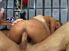 Tanned lusty brunette Aubrey Addams with round bouncing ass and great hunger for cock gets naked with Mark Wood and John Strong and fucks with them all over locker room.
