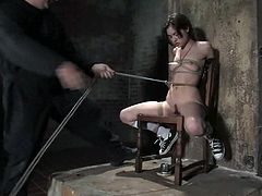 This babe is so fucking slutty and passionate that she gets pleasure even from the pain. So she gets bondaged and gagged so that she won't be loud!