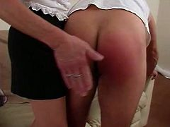 His wife got so fucking mad because he is only sitting and chilling all the time so it's time for punishment, and that is hard ass spanking