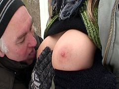 Watch this sexy busty blonde babe sucking an old guy's cock in the snow.After long sucking this babe gets her tight pussy licked and fucked hard by this old lucky man who still has enough strength to fuck her hard in the cold winter outdoor.Happy winter!