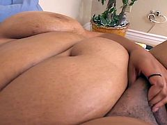 Check out this huge ebony bbw showing off her big watermelons and using her favorite toys to masturbate. Her fat cunt is ready to get stretched and she shows her oral skills too.