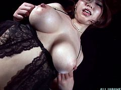 This milf named Ai Sayama is a naughty one for sure! She feels so horny in her erotic undies. Enjoy the closeup view on her pussy!