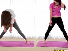 Damn, these two juicy sex dolls do yoga and it means that they are damn flexible and they can do it in some wild poses!