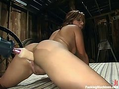 Sexy brown-haired girl Jasmine Byrne is playing dirty games in a basement. She shows off her nice body and strokes it and then gets her butt drilled by a sex machine.