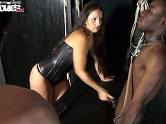 Fun Movies studios presents steamy orgy scene! Sultry black haired babes wearing leather clothes give blowjobs, rub their wet cunts and punish their slaves.