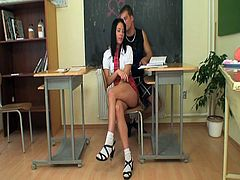 Girl and guy are so naughty at school. Come to join them as that huge meat slides easily into that hot teenie's pussy, making her scream loud for a nice orgasm!