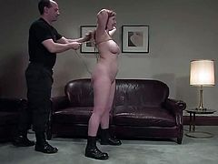 Seems like the first minutes were a piece of cake for this chick, but then she starts moaning, when her tits get a tight bondage! Fucking insane!