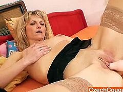 Stunning blonde amateur from the Czech Republic is wearing sexy black lingerie. She opens her legs wide for you and toys her tight pussy till a nice orgasm.