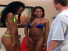 Sexy black girl Andriena and her GF show off their gorgeous butts on the poolside. Then they drive some guy crazy with a wonderful blowjob and get fucked in cowgirl and other positions.