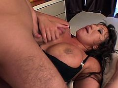Brunette milf Ava Devine wanted some cock today and she got it in this amazing hardcore video. Watch her teasing him with her tits before getting fucked very hard.