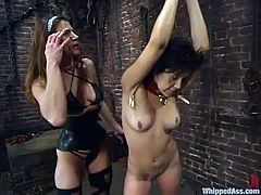 Brunette chick gets spanked and tied up by her nasty mistress. Later on she gets her tits pinched and pussy toyed with a strap-on.