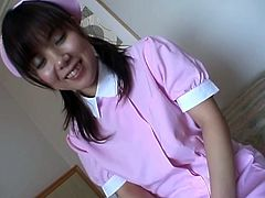 See this sexy Asian nurse getting drilled at the hospital. Horny doctor knows what little nurse needs so he screws her hairy pussy in many ways to make her cum.