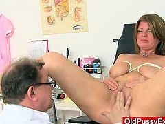 Incredible milf with huge natural melon size tits being inspected at gyno clinic.