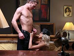 Breanne Benson is an elegant blonde in sexy sheer stocking worn with lace garter belt. She gets her tight neatly shaved pussy fingered by hot guy before she gievs head and gets banged. Shes damn sexy in this hot scene from Psycho Parody.