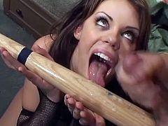 Insatiable bitch Gia Paloma smashes her cunt and butt with huge toys. Then she sucks and rides two men's pricks and allows the studs to destroy her holes with a bat.
