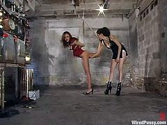 Nasty Latina gets tied up by her unmerciful mistress. Later on she gets her vagina toyed and tits tortured with electricity.