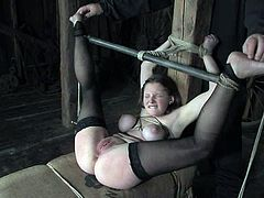 Curvaceous brown-haired chick gets tied up in the wooden barn. She gets her tits twisted and clothespinned. Later on she also gets toyed and suspended.