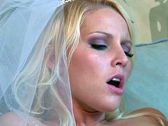 Adorable blonde bride Vanessa Cage with natural boobs and slim sexy body gets tight shaved pussy licked by handsome neighbor Eric John and fucks with him just after the wedding.