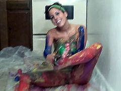 Dude, look at her perfect fuckin' big natural boobs in the paint! So beautiful and excited. Why you still sitting? Let's jerk off on this ChickPass Network body art xxx video!