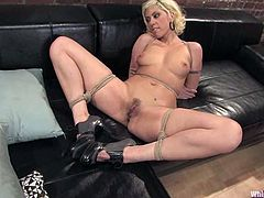 Maitresse Madeline and Satine Phoenix are playing dirty games indoors. The blonde gets boun and humiliated and then enjoys having a dildo in her cunt.