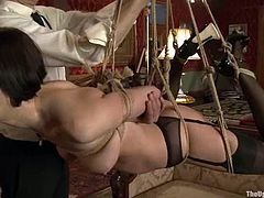 Beautiful Jynx Maze and kinky Cherry Torn get tied up. Later on they suck dildos and eat each others pussies. They also get tied up and toyed in their asses.