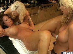 Phyllisha Anne, Jacey Andrews, Demi Delia and Devon Lee are some horny MILF sluts who always like to host big orgies. Watch them switching turns to share big strapon.