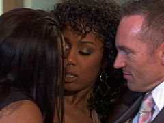 Watch this two hot black chicks share that white large cock of their friend who invited them for a dinner in Wicked sex clips.