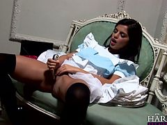 Watch them horny and super sexy maids in their sexy and tight panties pleasingt hemselves in the dining room by poking their wet pussy in Harmony Vision sex clips.
