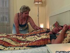 This horny dude can't keep his big cock in his pants. He was sleeping, when his cock got blowed by his mother in law and she begged him to nail her old cunt.