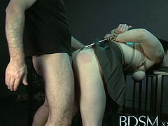 Master White is ready to have some fun with his sexy black-haired slave. She got her tight snatch toyed and receives hardcore banging into her tight pussy.