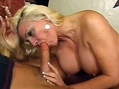 Blonde mom enjoys younger stud fucking her hard and making her swallow so much load